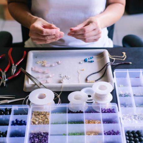 Hobbyist making jewelry.