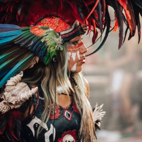 Mexico City, Mexico - December 22, 2017: Aztec dancers dancing in the Zocalo in Mexico City, DF, Mexico.